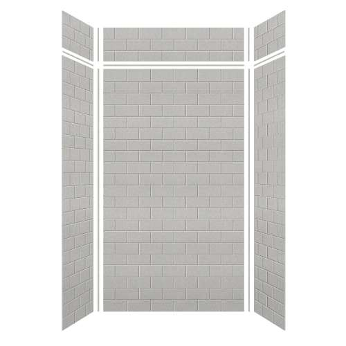 Monterey 48-in x 36-in x 84/12-in Glue to Wall 3-Piece Transition Shower Wall Kit, Grey Stone/Tile