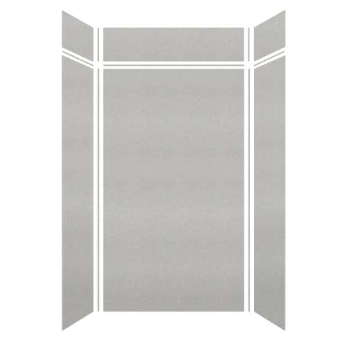 Monterey 48-in x 36-in x 84/12-in Glue to Wall 3-Piece Transition Shower Wall Kit, Grey Stone/Velvet