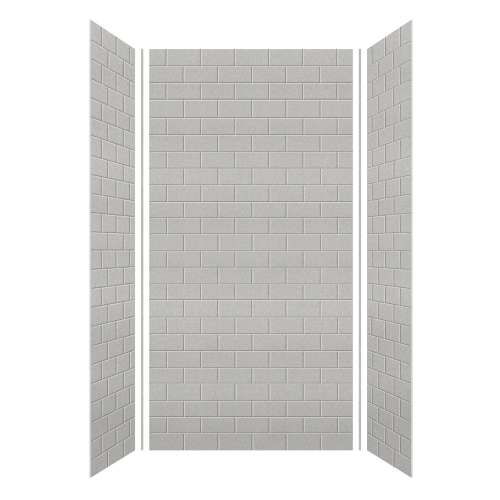 Monterey 48-in x 36-in x 96-in Glue to Wall 3-Piece Shower Wall Kit, Grey Stone/Tile