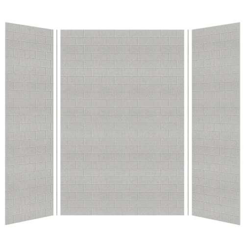 Monterey 60-in x 36-in x 96-in Glue to Wall 3-Piece Shower Wall Kit, Grey Stone/Tile