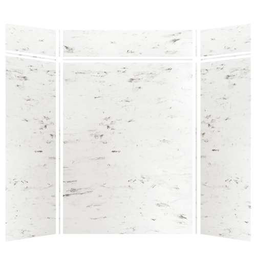 Monterey 60-in x 36-in x 84/12-in Glue to Wall 3-Piece Transition Shower Wall Kit, Carrara/Velvet