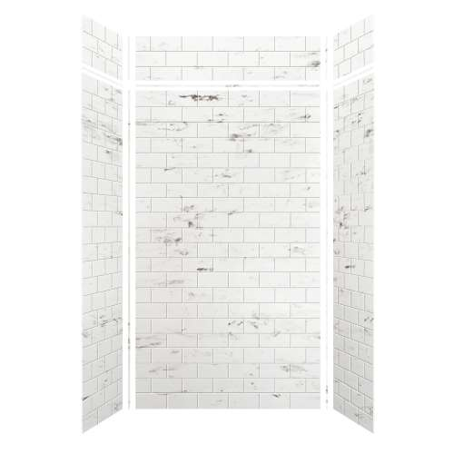 Monterey 48-in x 36-in x 84/12-in Glue to Wall 3-Piece Transition Shower Wall Kit, Carrara/Tile