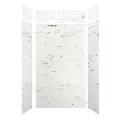 Monterey 48-in x 36-in x 84/12-in Glue to Wall 3-Piece Transition Shower Wall Kit, Carrara/Velvet