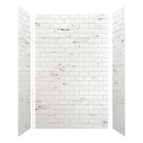 Monterey 60-in x 36-in x 96-in Glue to Wall 3-Piece Shower Wall Kit, Carrara/Tile