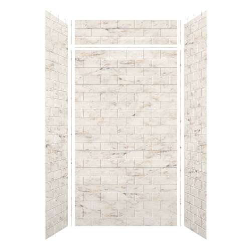 Monterey 48-in x 36-in x 84/12-in Glue to Wall 3-Piece Transition Shower Wall Kit, Butterscotch/Tile