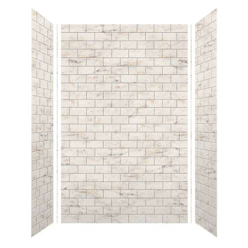 Monterey 60-in x 36-in x 96-in Glue to Wall 3-Piece Shower Wall Kit, Butterscotch/Tile