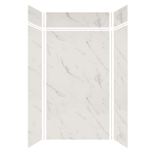 Silhouette 48-in x 36-in x 84/12-in Glue to Wall 3-Piece Transition Shower Wall Kit, Pearl Stone
