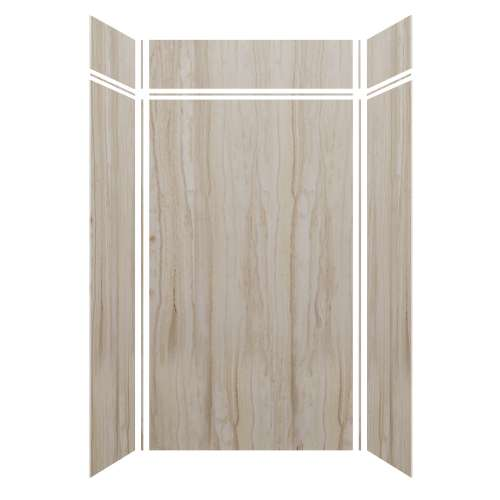 Silhouette 48-in x 36-in x 84/12-in Glue to Wall 3-Piece Transition Shower Wall Kit, Jupiter Stone