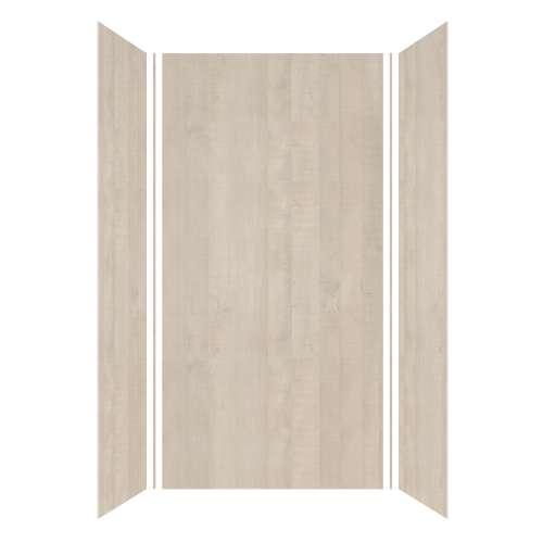 Silhouette 48-in x 36-in x 96-in Glue to Wall 3-Piece Shower Wall Kit, Washed Oak