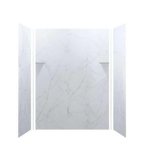 Luxura 60-in x 36-in x 84-in Glue to Wall 3-Piece Tub Wall Kit, Palladium White