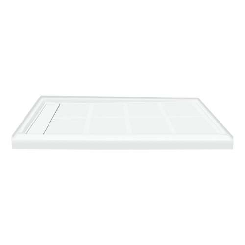 48-in x 32-in Single Threshold Left Hand Linear Concealed Drain Shower Base, White