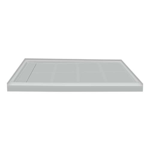 48-in x 32-in Single Threshold Left Hand Linear Concealed Drain Shower Base, Grey