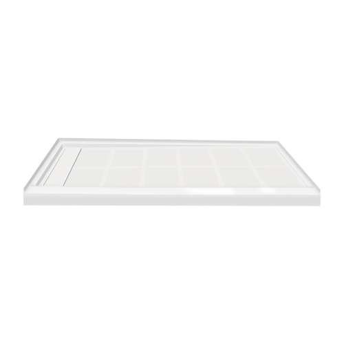 60-in x 36-in Single Threshold Left Hand Linear Concealed Drain Shower Base, White