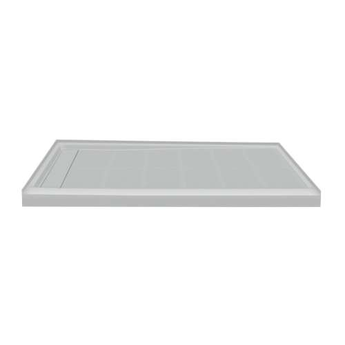 60-in x 36-in Single Threshold Left Hand Linear Concealed Drain Shower Base, Grey