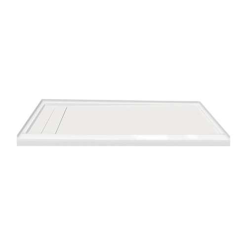60-in x 30-in Ultra Low Threshold Left Hand Concealed Drain Shower Base, White