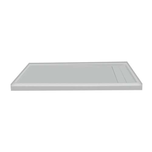 60-in x 30-in Ultra Low Threshold Right Hand Concealed Drain Shower Base, Grey