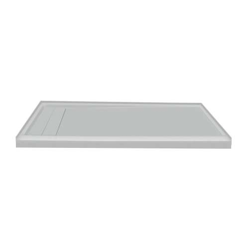 60-in x 32-in Ultra Low Threshold Left Hand Concealed Drain Shower Base, Grey