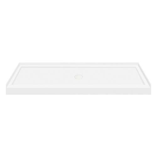60-in x 36-in Low Threshold Center Drain Shower Base, White