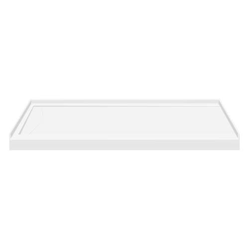 60-in x 32-in Low Threshold Left Hand Linear Concealed Drain Shower Base, White