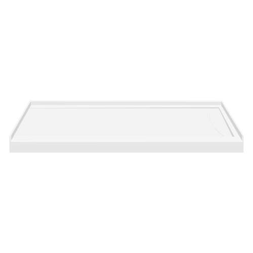 60-in x 32-in Low Threshold Right Hand Linear Concealed Drain Shower Base, White