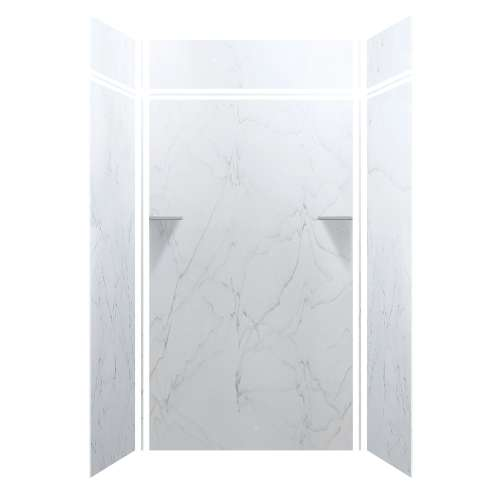 Luxura 48-in x 36-in x 84/12-in Glue to Wall 3-Piece Transition Shower Wall Kit, Palladium White
