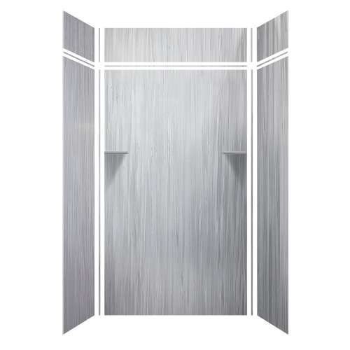 Luxura 48-in x 36-in x 84/12-in Glue to Wall 3-Piece Transition Shower Wall Kit, Iceberg Grey