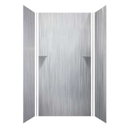 Luxura 48-in x 36-in x 96-in Glue to Wall 3-Piece Shower Wall Kit, Iceberg Grey