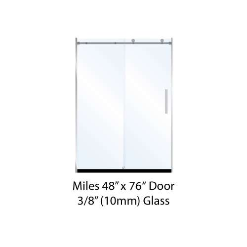 Miles 48-in x 76-in Barn-Style Shower Door with 10mm Low Iron Glass, in Chrome