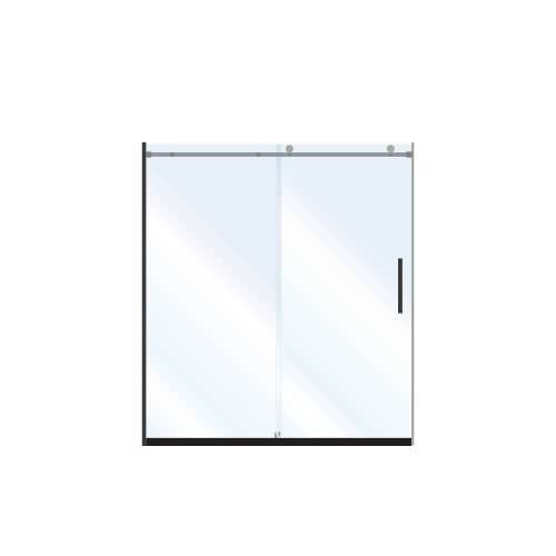 Miles 60-in x 76-in Barn-Style Shower Door with 10mm Clear Glass, in Matte Black