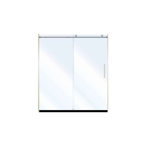 Miles 60-in x 76-in Barn-Style Shower Door with 8mm Clear Glass, in Brushed Nickel