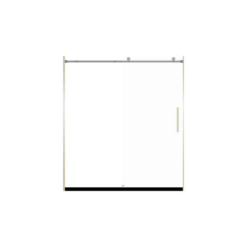 Miles 60-in x 76-in Barn-Style Shower Door with 8mm Frosted Glass, in Brushed Nickel