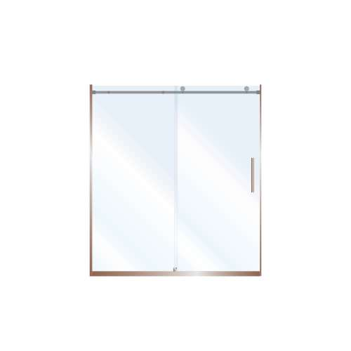 Miles 60-in x 76-in Barn-Style Shower Door with 10mm Clear Glass, in Champagne Bronze