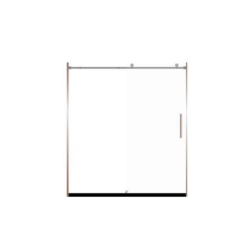 Miles 60-in x 76-in Barn-Style Shower Door with 8mm Frosted Glass, in Champagne Bronze