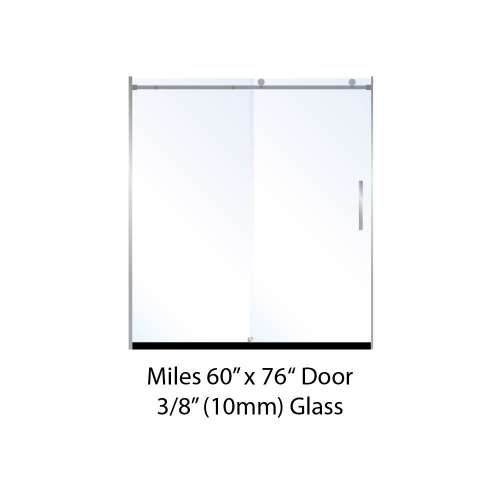 Miles 60-in x 76-in Barn-Style Shower Door with 10mm Low Iron Glass, in Chrome