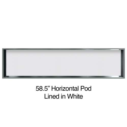58.5-in. Recessed Horizontal Storage Pod Rear Lined in White