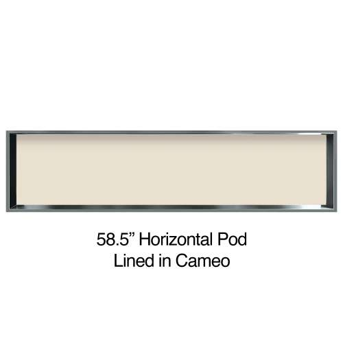 58.5-in. Recessed Horizontal Storage Pod Rear Lined in Linen