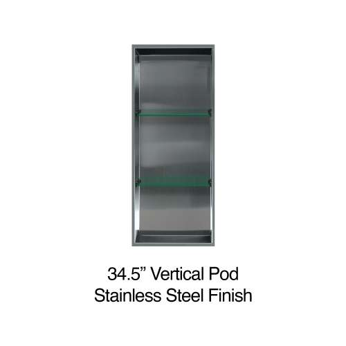 34.5-in. Recessed Vertical Storage Pod, in Brushed Stainless