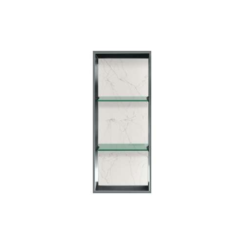 34.5-in. Recessed Vertical Storage Pod Rear Lined in Palladium White