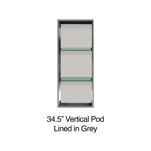34.5-in. Recessed Vertical Storage Pod Rear Lined in Grey