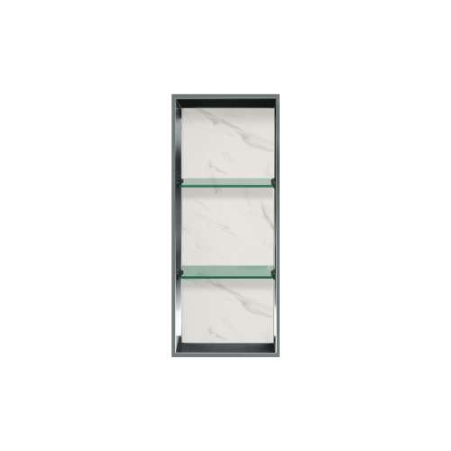 34.5-in. Recessed Vertical Storage Pod Rear Lined in Pearl Stone