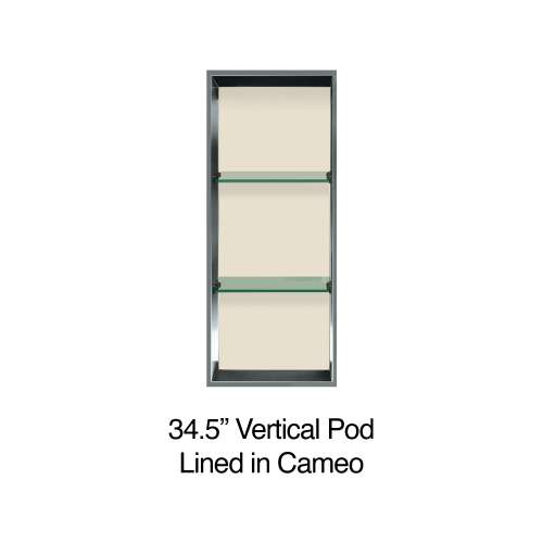 34.5-in. Recessed Vertical Storage Pod Rear Lined in Linen
