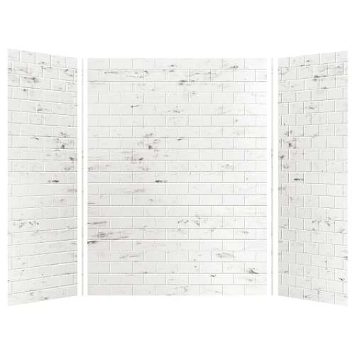 Monterey 60-in x 36-in x 84-in Glue to Wall 3-Piece Tub Wall Kit, Carrara/Tile