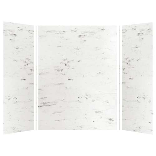 Monterey 60-in x 36-in x 84-in Glue to Wall 3-Piece Tub Wall Kit, Carrara/Velvet
