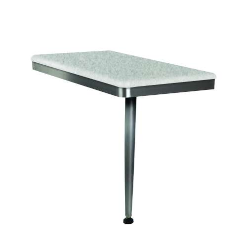 24in x 12in Right-Hand Shower Seat with Brushed Stainless Frame and Leg, in Grey Stone