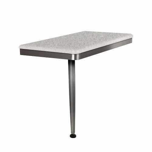 24in x 12in Left-Hand Shower Seat with Brushed Stainless Frame and Leg, in Grey Stone