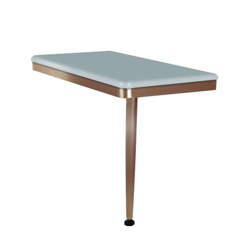 24in x 12in Right-Hand Shower Seat with PVD Coated Champagne Bronze Frame and Leg, in Grey