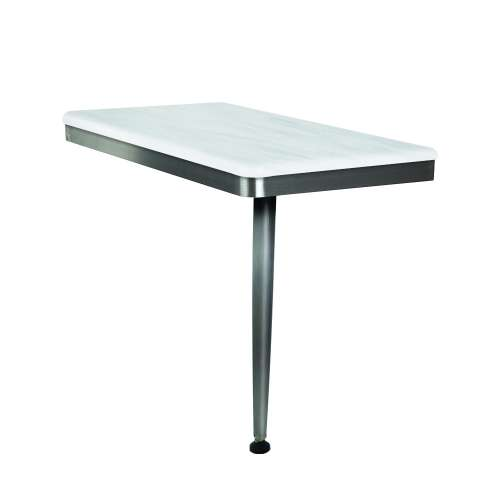 24in x 12in Right-Hand Shower Seat with Brushed Stainless Frame and Leg, in Bellagio