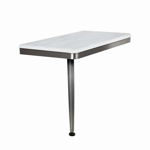 24in x 12in Left-Hand Shower Seat with Brushed Stainless Frame and Leg, in Bellagio