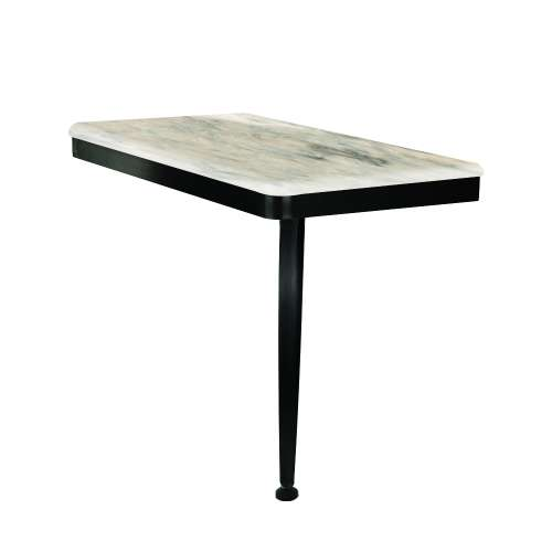 24in x 12in Right-Hand Shower Seat with PVD Coated Matte Black Frame and Leg, in Creme