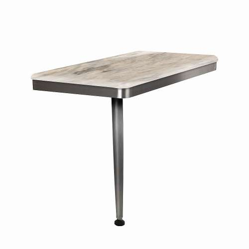 24in x 12in Left-Hand Shower Seat with Brushed Stainless Frame and Leg, in Creme